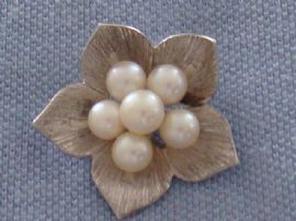 Mikimoto Cultured Pearl Brooch - Sterling Silver - 1960s Flower Pin (SOLD)